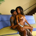 Ebony Babe Monica Foster Bangs Black Cock on Couch 03