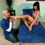 Slutty Brunette Beauty Molli Milano Gives a Sticky Footjob 02